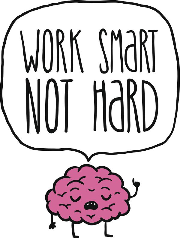 Rysunek mózgu. Nad nim komiksowy dymek z napisem: Work smart, not hard.